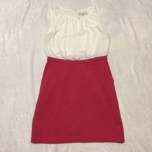 LOFT pink and white dress size 8